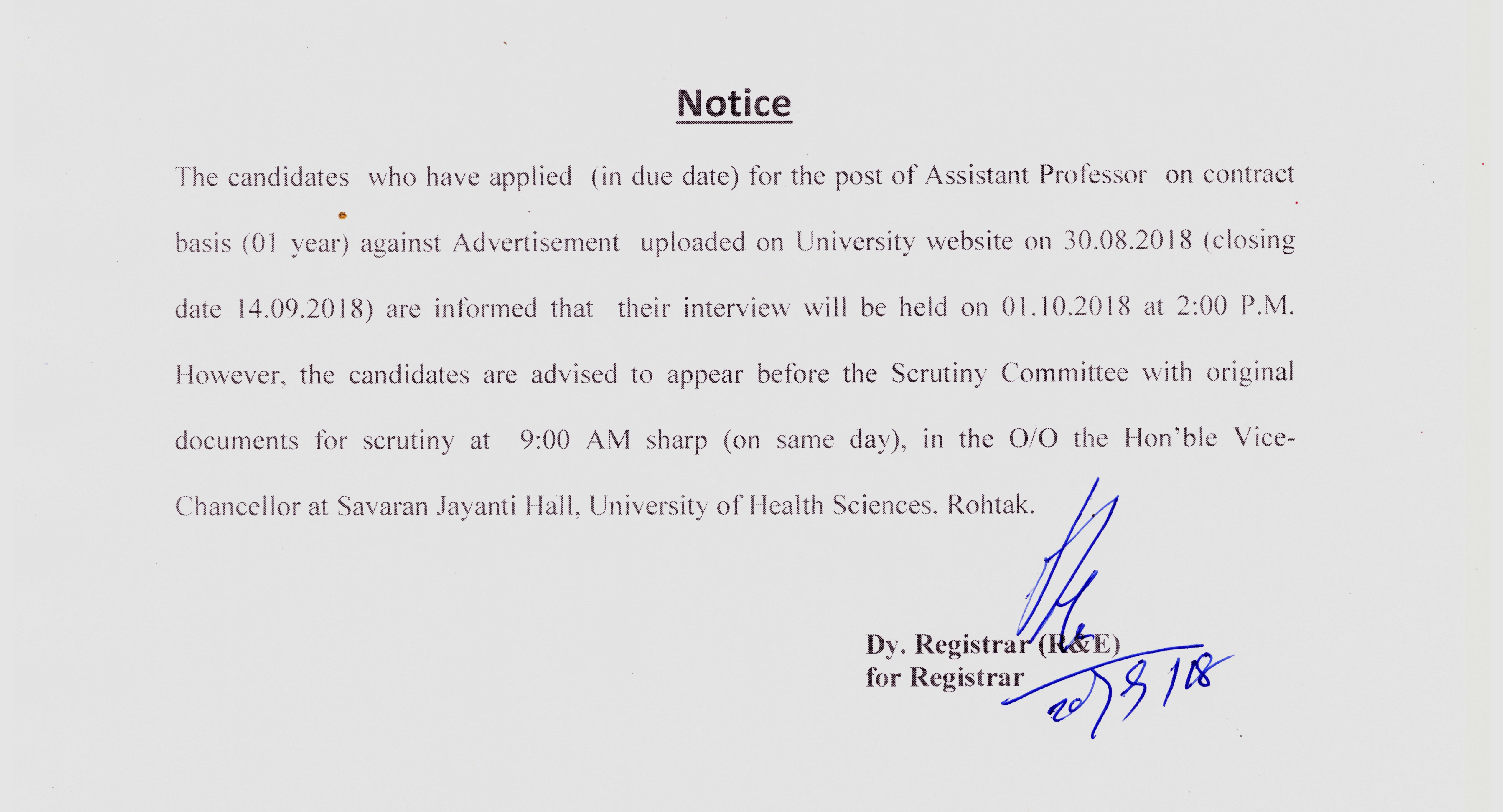 notice to the candidates who have applied for the post of asstt professor on contract basis one year for which interview to be held on 01102018