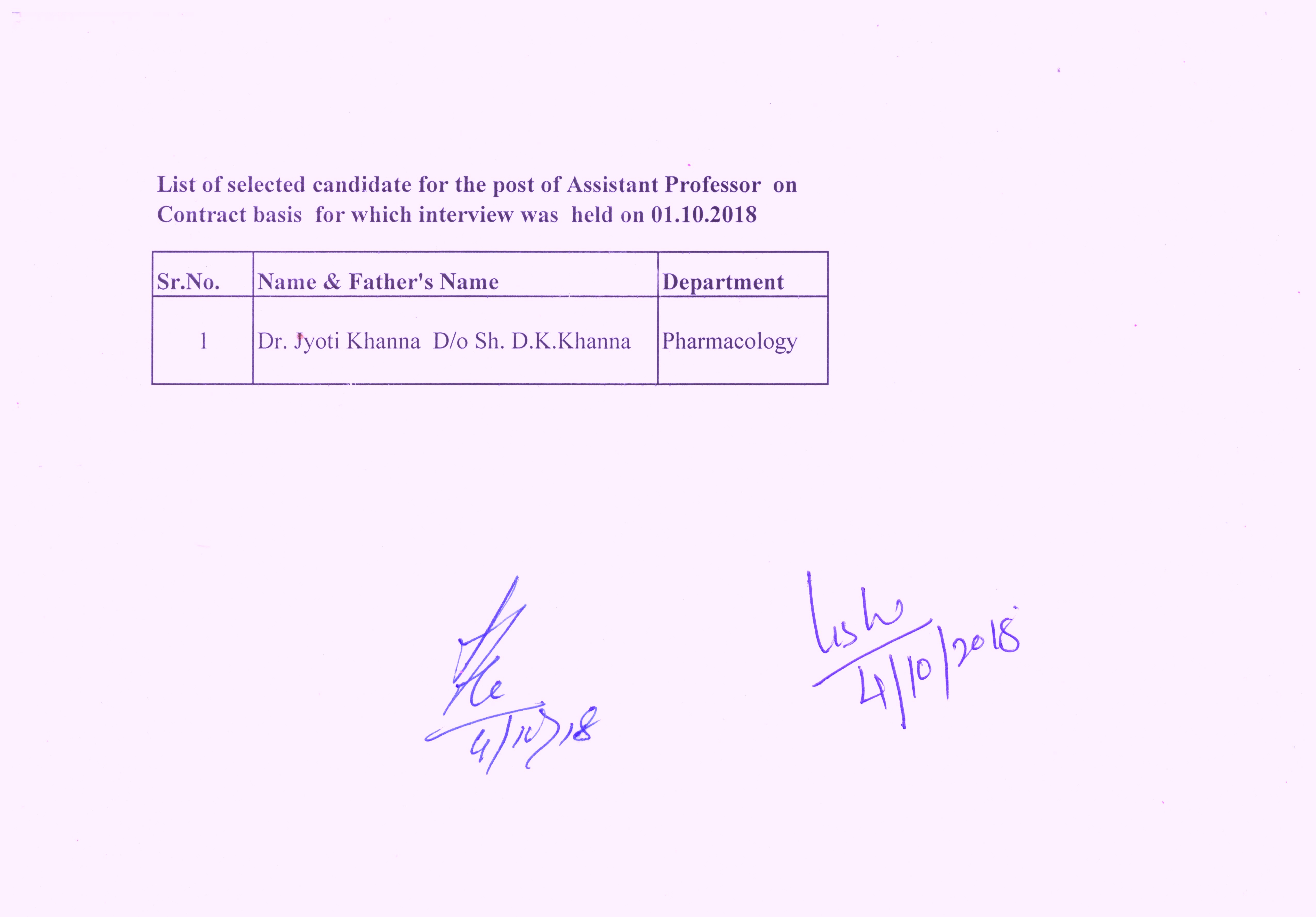 list of selected candidates for the post of assistant professor on contract basis for which interview was held on 01102018